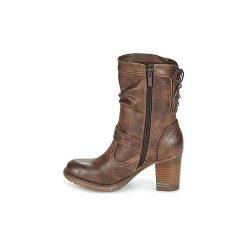Kozaki Mustang  ROSELIE. Brązowe buty zimowe damskie marki Kazar, ze skóry, przed kolano, na wysokim obcasie. Za 335,20 zł.