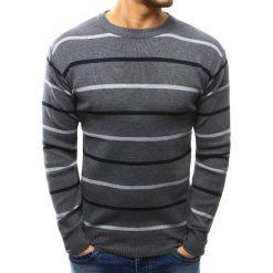 Swetry klasyczne męskie: Sweter męski w paski antracytowy (wx1024)