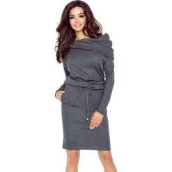 Sukienki asymetryczne: VIVA uniwersalna i wygodna sukienka grafit mat