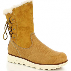 """Kozaki zimowe """"Ambre"""" w kolorze beżowym. Szare buty zimowe damskie marki Marco Tozzi. W wyprzedaży za 295,95 zł."""