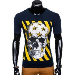 T-shirty męskie: T-SHIRT MĘSKI Z NADRUKIEM S980 - GRANATOWY