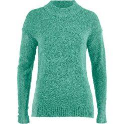 Swetry damskie: Sweter boucle bonprix zielony szałwiowy melanż