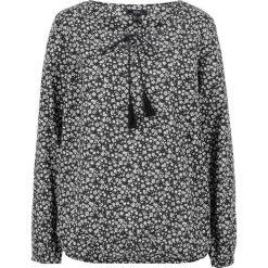 Bluzka bawełniana z długim rękawem bonprix czarno-biały w kwiaty. Czarne bluzki longsleeves bonprix, w kwiaty, z bawełny. Za 49,99 zł.