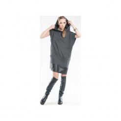 Sukienka z kapturem i wykończeniem z eko skóry SL2146. Czarne sukienki balowe marki Sinsay, l, z kapturem. Za 119,00 zł.