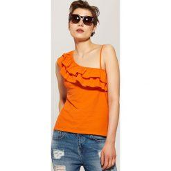 Bluzki, topy, tuniki: Top z asymetrycznym dekoltem – Pomarańczo