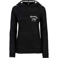 Swetry klasyczne damskie: Sweter z kapturem bonprix czarno-biel wełny