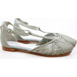 """Rzymianki damskie: Skórzane sandały """"Cecil"""" w kolorze jasnozielonym"""