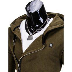 BLUZA MĘSKA ROZPINANA Z KAPTUREM B680 - KHAKI. Brązowe bluzy asymetryczne męskie marki Ombre Clothing, m, z kapturem. Za 69,00 zł.