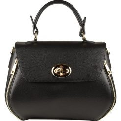 Torebki klasyczne damskie: Skórzana torebka w kolorze czarnym – 21 x 22 x 9 cm