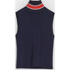 Swetry damskie: Top z wysokim golfem - Granatowy