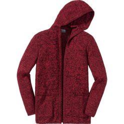 Długi sweter bez zapięcia, z kapturem Slim Fit bonprix czarno-ciemnoczerwony. Czarne swetry klasyczne męskie marki bonprix, l, z kapturem. Za 59,99 zł.
