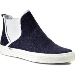 Półbuty CARINII - B3009 Jeans/Nappa Biała. Niebieskie creepersy damskie Carinii, z jeansu, na płaskiej podeszwie. W wyprzedaży za 149,00 zł.