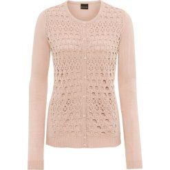 Swetry rozpinane damskie: Sweter bonprix jasnoróżowy pudrowy