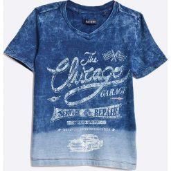 Blue Seven - Top dziecięcy 92-128. Niebieskie bluzki dziewczęce Blue Seven, z nadrukiem, z bawełny, z okrągłym kołnierzem, z krótkim rękawem. W wyprzedaży za 39,90 zł.