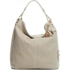 Torebki klasyczne damskie: Skórzana torebka w kolorze kremowym – 38 x 42 x 17 cm