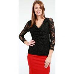 Bluzka - 22-8188 NERO. Czarne bluzki asymetryczne Unisono, l, w koronkowe wzory, z elastanu, klasyczne, z dekoltem woda, z długim rękawem. Za 19,00 zł.