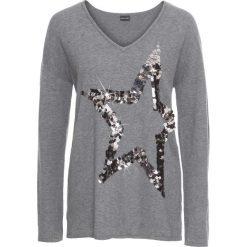 Swetry klasyczne damskie: Sweter z gwiazdą z cekinów bonprix ciemnoszary