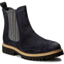 Sztyblety KONDOR - Pear'Shooz 5726 Navy. Niebieskie buty zimowe damskie Kondor, z materiału, na obcasie. W wyprzedaży za 279,00 zł.