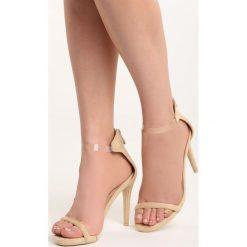 Beżowe Sandały Private Emotion. Brązowe sandały damskie marki Born2be, z materiału, na wysokim obcasie, na obcasie. Za 69,99 zł.