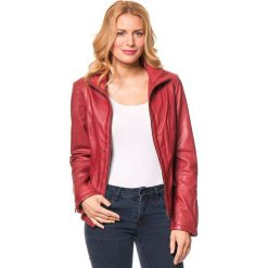 Bomberki damskie: Skórzana kurtka w kolorze czerwonym