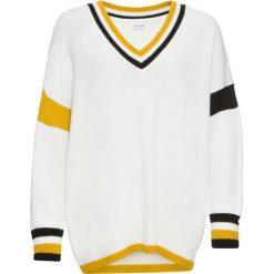 Sweter z kontrastowymi paskami bonprix biel wełny. Białe swetry klasyczne damskie bonprix, z wełny, z dekoltem w serek. Za 99,99 zł.