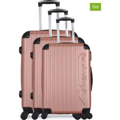 """Walizki (3 szt.) """"Budapest"""" w kolorze różowozłotym. Żółte walizki American Travel, z materiału. W wyprzedaży za 434,95 zł."""