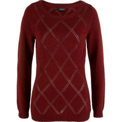 Sweter w ażurowy wzór bonprix czerwony kasztanowy. Czerwone swetry klasyczne damskie bonprix. Za 37,99 zł.
