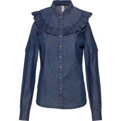 Bluzka dżinsowa z falbanami bonprix ciemny denim. Czarne bluzki z odkrytymi ramionami marki bonprix, w grochy, z wełny, z dekoltem w serek. Za 49,99 zł.