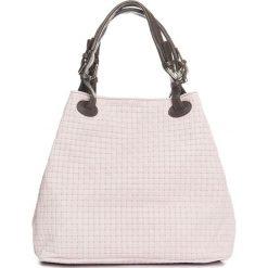 Torebki klasyczne damskie: Skórzana torebka w kolorze jasnojasnoróżowym – 35 x 28 x 17 cm