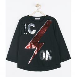 Koszulka. Czarne bluzki dziewczęce bawełniane OH OK, z aplikacjami, z długim rękawem. Za 59,90 zł.