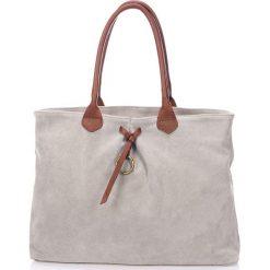 Torebki i plecaki damskie: Skórzana torebka w kolorze jasnoszarym – 41 x 24 x 11 cm