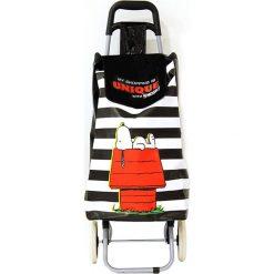 Wózek zakupowy w kolorze czarnym ze wzorem - 35,5 x 95 x 32,5 cm. Czarne shopper bag damskie Clean & Co., z tkaniny. W wyprzedaży za 86,95 zł.