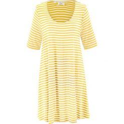 Bluzki, topy, tuniki: Tunika shirtowa, krótki rękaw bonprix żółto-biel wełny w paski