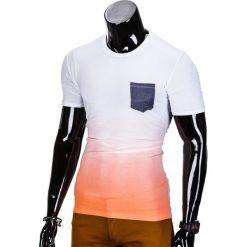 T-SHIRT MĘSKI BEZ NADRUKU S427 - BIAŁY/POMARAŃCZOWY. Szare t-shirty męskie z nadrukiem marki Lacoste, z gumy, na sznurówki, thinsulate. Za 19,99 zł.