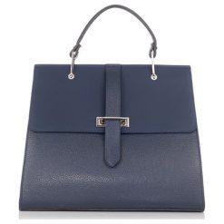 Torebki klasyczne damskie: Skórzana torebka w kolorze ciemnoniebieskim – (S)34 x (W)41 x (G)16 cm