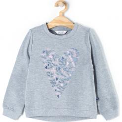 Bluza. Szare bluzy dziewczęce rozpinane BASIC GIRL, z aplikacjami, z bawełny, z długim rękawem, długie. Za 39,90 zł.