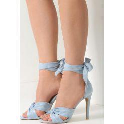 Niebieskie Sandały Speak To Man. Brązowe sandały damskie marki vices, z materiału, ze szpiczastym noskiem, na wysokim obcasie, na obcasie. Za 59,99 zł.