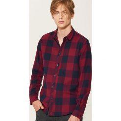 Koszula w kratę - Bordowy. Szare koszule męskie marki House, l, z bawełny. Za 79,99 zł.