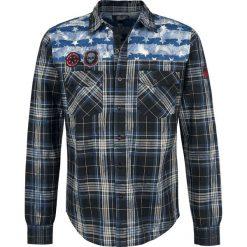 Rock Rebel by EMP Legendary Koszula niebieski. Czarne koszule męskie na spinki marki Leonardo Carbone, s, z materiału, z długim rękawem. Za 164,90 zł.