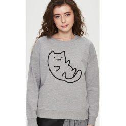Bluzy rozpinane damskie: Bluza z kotem - Jasny szar