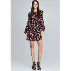 Odzież damska: Casualowa Sukienka z Bufiastym Rękawem z Barwnym Wzorem  - Wzór 82