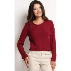 Bordowa Elegancka Bluzka z Pęknięciem przy Dekolcie. Czerwone bluzki asymetryczne Molly.pl, l, biznesowe, z długim rękawem. Za 95,90 zł.