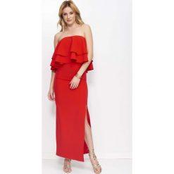Czerwona Sukienka Maxi Wieczorowa z Rozcięciem na Boku. Czerwone długie sukienki marki Molly.pl, na co dzień, l, eleganckie, z gorsetem, gorsetowe. Za 149,90 zł.