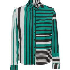 Bluzki damskie: Bluzka bonprix zielono-czarno-biały w paski