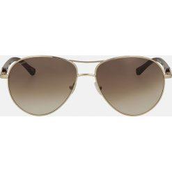 Brązowo złote okulary przeciwsłoneczne. Brązowe okulary przeciwsłoneczne damskie aviatory Kazar. Za 399,00 zł.