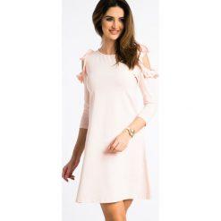 Łososiowa Sukienka z Odkrytymi Ramionami 3302. Niebieskie sukienki marki Reserved, z odkrytymi ramionami. Za 59,00 zł.