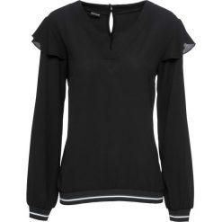 Bluzka z kontrastowymi paskami bonprix czarny. Czarne bluzki z odkrytymi ramionami marki bonprix, w paski, z kontrastowym kołnierzykiem. Za 74,99 zł.