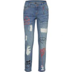 Dżinsy SKINNY z malowanymi motywami bonprix niebieski bleached. Niebieskie jeansy damskie bonprix, z jeansu. Za 69,99 zł.