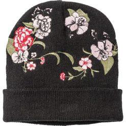 Czapka z haftem bonprix czarno-kolorowy. Czarne czapki zimowe damskie marki bonprix, z haftami. Za 44,99 zł.
