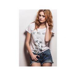 T-shirt Damski by Marta Frej JEDZ MYŚL KOCHAJ. Białe t-shirty damskie marki CADOaccessories, l, z nadrukiem, z bawełny, z klasycznym kołnierzykiem. Za 69,00 zł.